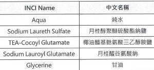 麩胺酸鹽晶皂基成份